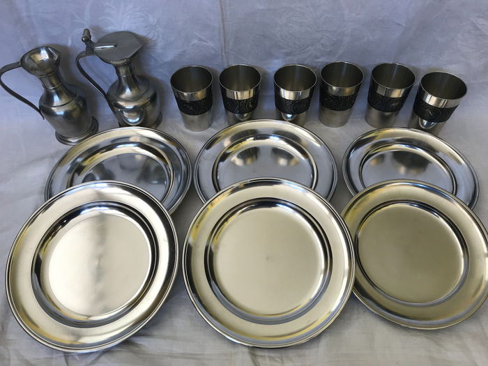 6 Glasses, 6 Plates and 2 Jugs - Pewter/Tin