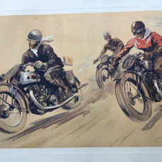 Poster, lithography. - Courses motos - Geo Ham - 1960