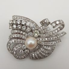 900 Platinum - Brooch - 6.00 ct Diamond - Diamond