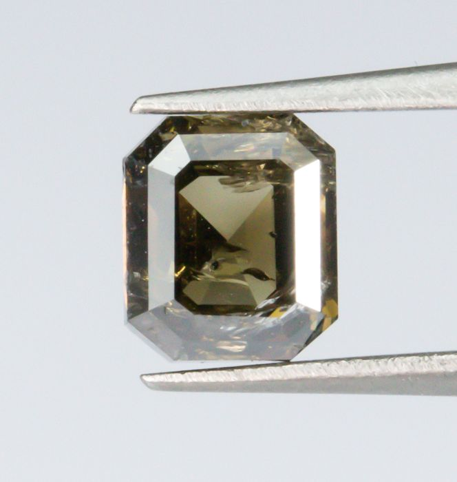 Diamante - 0.93 ct - Natural fantasía profundo marrón verdoso - I1  *NO RESERVE*