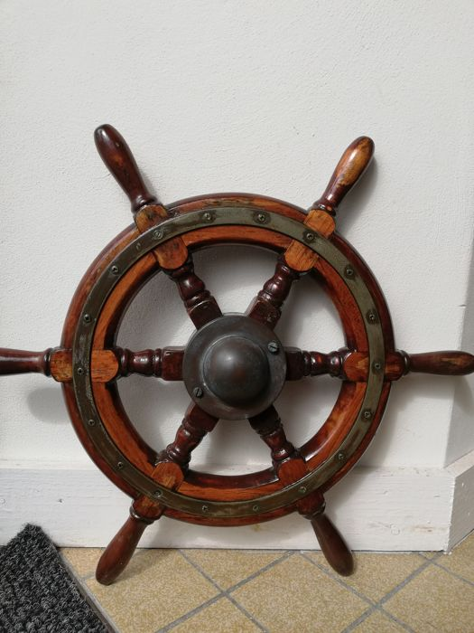 Vintage steering wheel  - Brass, Cast alloy , Teak - Early 20th century