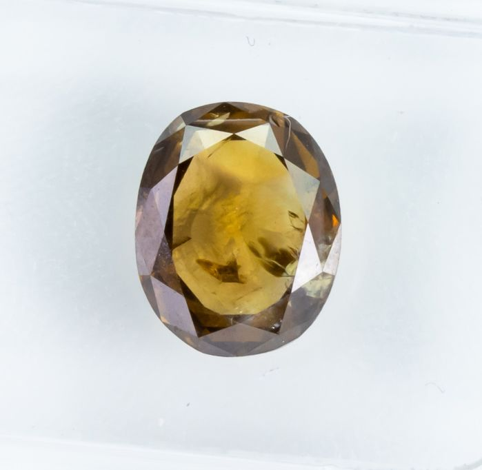 Diamant - 2.08 ct - Natural Fancy INTENSE Brown-Yellow - I1  *NO RESERVE*