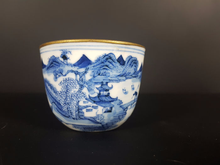 Tea cup - Porcelain Chinese brand - Animated Lanscape Animated Landscape - China - End XVIII