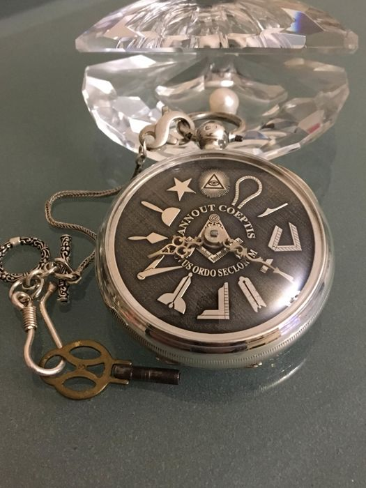 Masonic- verge fusee-silver - pocket watch NO RESERVE PRICE - Uomo - 1876