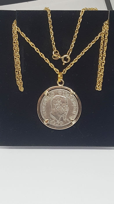 Gold, 14 kt pendant necklace from 1844 - Necklace with pendant, antique gold necklace 375/1000 grams 10.40 silver coin 1 lira vittorio emanuele II 1863 turin silver 900 fdc