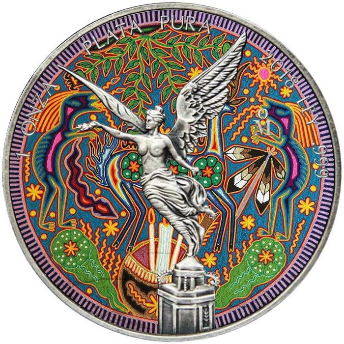 México - 1 Onza 2018 - Libertad Huichol 8 Antique Finish - 1 Oz - Plata