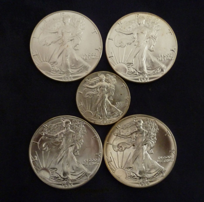 USA - ½ Dollar 1946 + Dollars 1986 1987 1988 1989 American Silver Eagle (5 coins)  - Silber