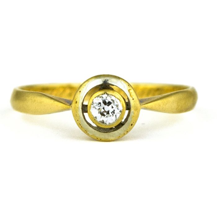 Authentic Antique Solitaire Engagement - 18 quilates Oro amarillo - Anillo Diamante