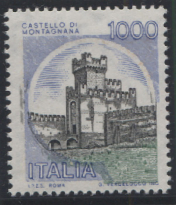 "Italy Republic 1980 - 1000 lire Castles ""sky blue mountain"" without the orange print - Sassone N. 1558B"