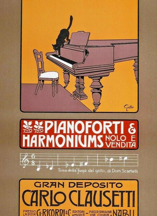 Gallo - Ricordi Portfolio: Pianoforti & Harmoniums - Cartel litografía original pequeña, 1914.