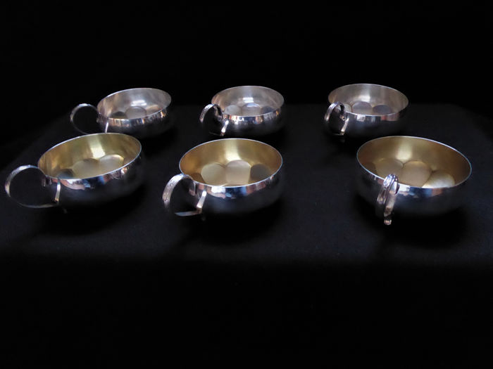 6 pieces cups 830'er silver - partially gold plated - GAB - Sweden - 1959