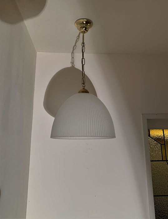 Very Large Factory Ceiling lamp, hanging lamp with frosted glass (1) - Glass, copper / brass