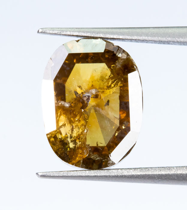 Diamant - 2.18 ct - Natural Fancy INTENSE Brown-Yellow - I1  *NO RESERVE*