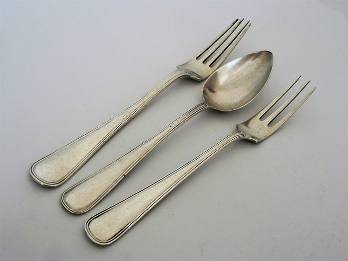 Cutlery. model double round fillet (3) - .833 silver - Van Kempen & Zn. Voorschoten - Netherlands - 1923 and 1932