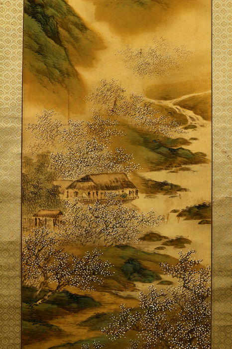 Rouleau suspendu - Bois, Papier, Soie - Spring landscape - With signature and seal 'Chikutei' 竹亭 - Japon - Californie. 1928 (période Showa)
