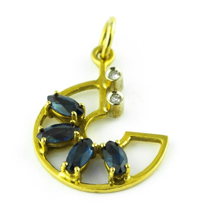 """C"" Shaped - 18 quilates Oro amarillo - Colgante Zafiro - Diamante"