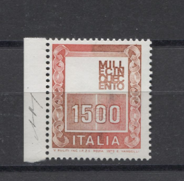 """Italy Republic 1980 - 1,500 lire high values """"Italy without head"""" natural stamp, interesting variety - Bolaffi N. 1465B certificato Bolaffi"""