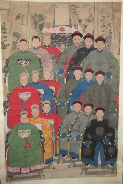 """Portret schilderij - Papier - Familie - Extra large 139cmH 18 persons portraits with """"Certificate of Antiquity""""  - China - Qing Dynastie (1644-1911)"""