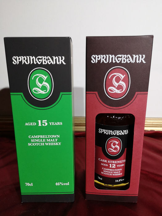 Springbank 15 years old & 12 years old Cask Strength - 0,7 Liter - 2 flessen