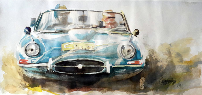 Original watercolor by Gilberto Gaspar - Jaguar E - Jaguar