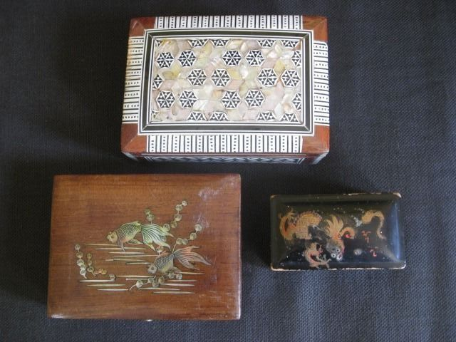 3 Authentic Lacquer boxes among others, Inlaid with Mother of Pearl and Bone, Marked, Handmade. - Wood Various, Mother of Pearl, Bone, Copper