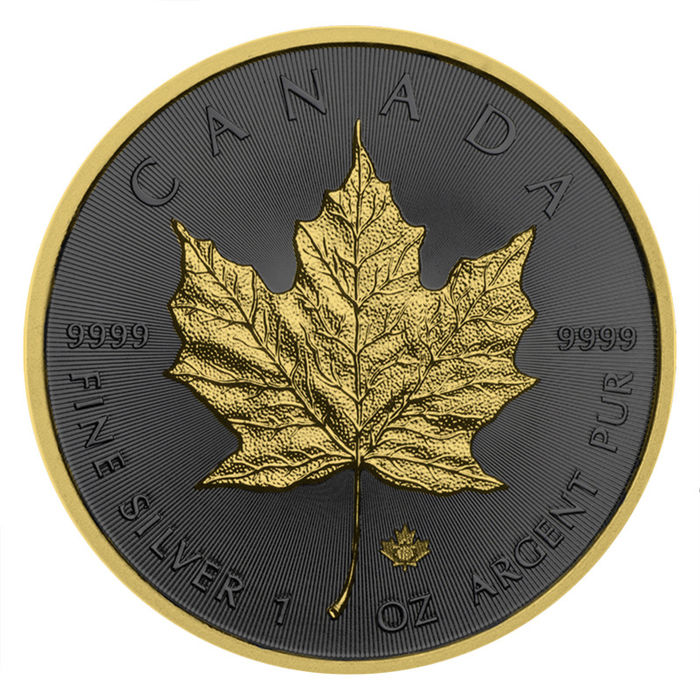 Canada - 5 Dollar 2019 Maple Leaf Golden Ring Edition Ruthenium Gilded - mit Box & Zertifikat - 1 Oz - Silver