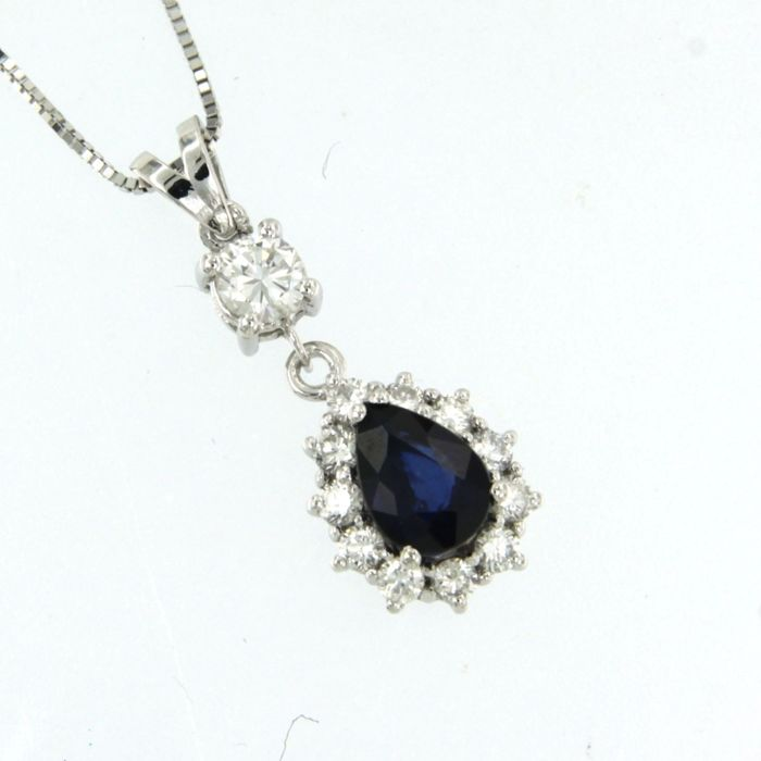 14 kt. White gold - Necklace with pendant - 0.50 ct Diamond - Sapphire