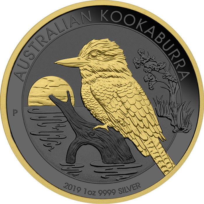 Australië - 1 Dollar 2019 Perth Mint Kookaburra Golden Ring Ruthenium Edition - mit Box & Zertifikat - 1 Oz - Zilver