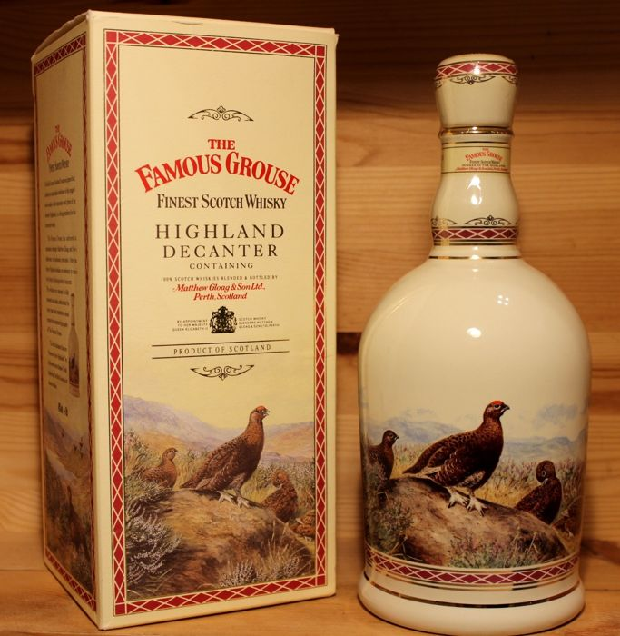 Famous Grouse Porcelan Decanter, gilded with 24 carat gold  - 70 cl