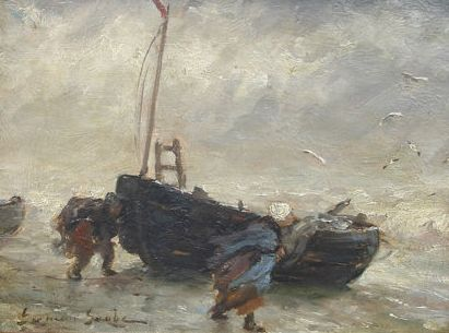 German Grobe (1857-1938) - Entry of the boats in stormy weather