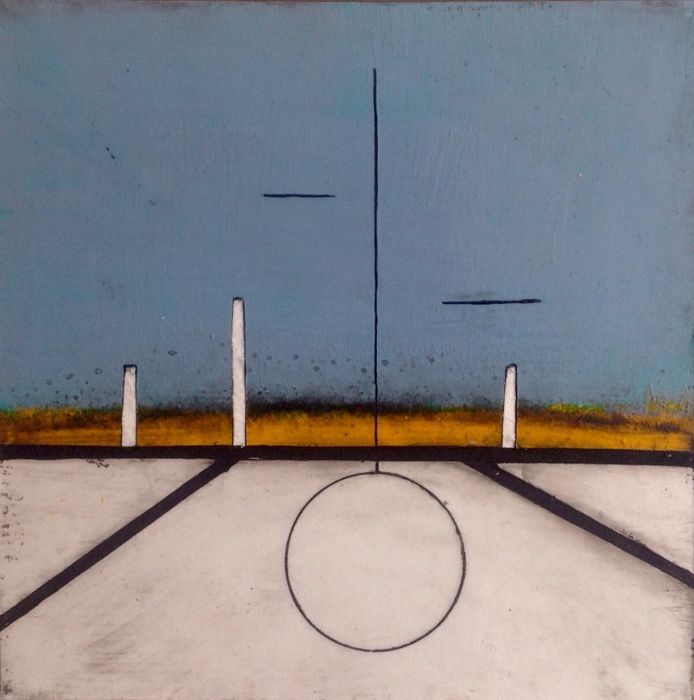 Paulus Noomen - Somewhere/composition in blue turqoise yellow