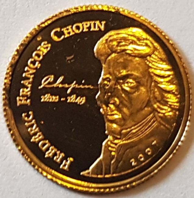 Ivoorkust - 1500 Francs 2007 'Frederic Francois Chopin 1810 - 1849' with a Certificate of Authenticity - Goud