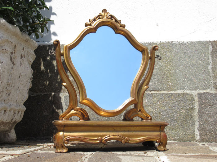 Used, Table mirror with tilting mirror and drawer - Baroque - Wood and glass Curio Curio for sale