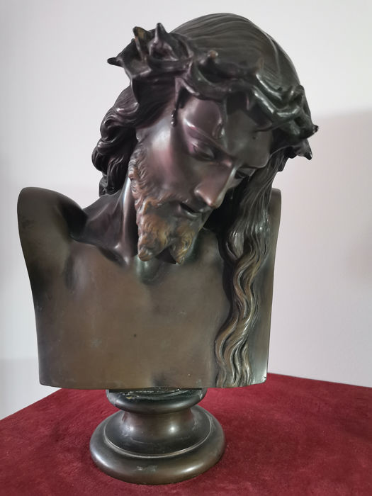Jean-Baptiste Clésinger (1814-1883) - Ferdinand Barbedienne - Bust of Christ with the crown of thorns (1) - Bronze - Second half 19th century