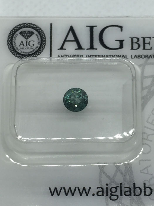 Diamante - 0.38 ct - Redondo - fancy intens blue green - I2