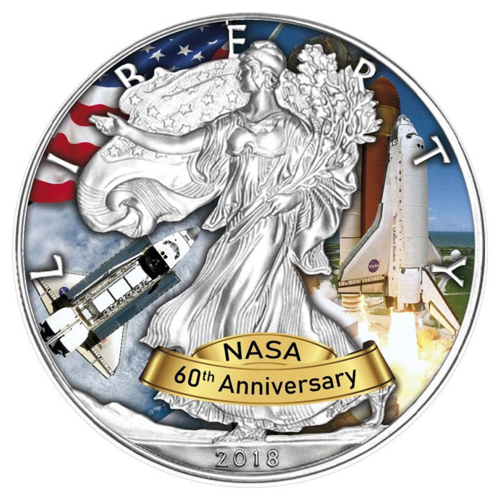 United States - 1 Dollar 2018 - NASA 60th Anniversary - Space Shuttle - 1oz - Silver