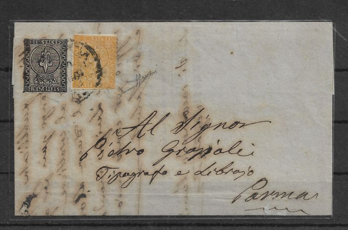 Parma 1853/1854 - 10 cents white, 5 cents orange yellow 2nd issue on letter from Piacenza to Parma - Sassone N. 2; 6