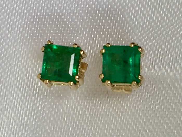 18 quilates/750 Gold - Earrings Natural emerald very transparent