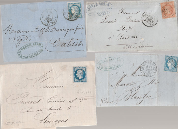 Frankrijk 1810/1873 - 70 letters with Ceres and Napoleon - correspondence -