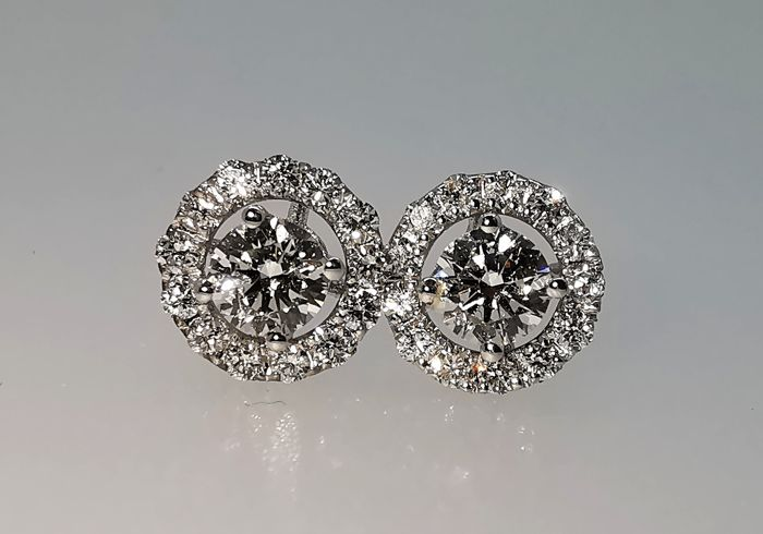 White gold - Earrings - 0.61 ct Diamond - Diamonds