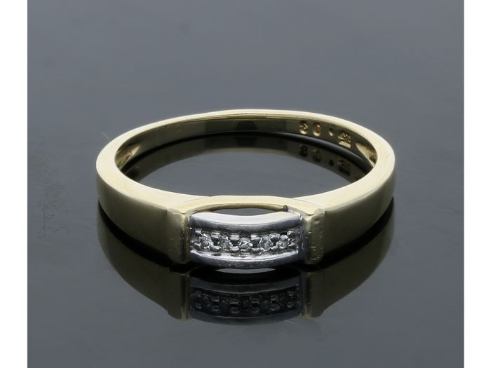 14 kt Gelbgold - Ring - 0.03 ct Diamant