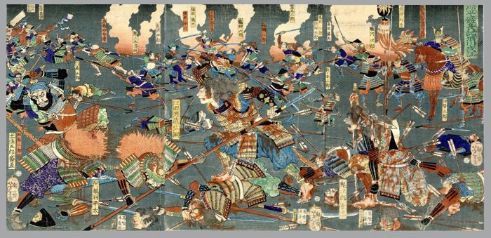 "Trittico, Xilografia originale - Tsukioka Taiso Yoshitoshi (1839-1892) - ""Genpei seisui ki Horikawa Youchi"" (Night Attack at Horikawa River During the Genpei Civil War) - 1864"