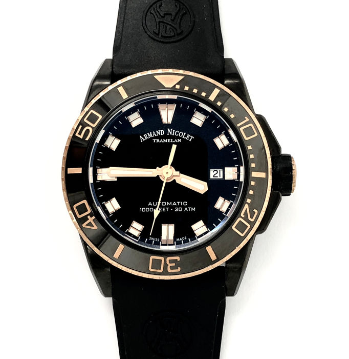 Armand Nicolet - JS9 Diver Watch Black D.L.C.  Rose Gold Tone Swiss Made  - A480AQS-NS-GG4710N - Heren - NEW