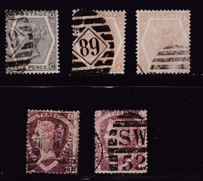 Gran Bretaña 1870/1873 - Victory Reign  -  Watermarks Crowns & Rose - Postmark London District