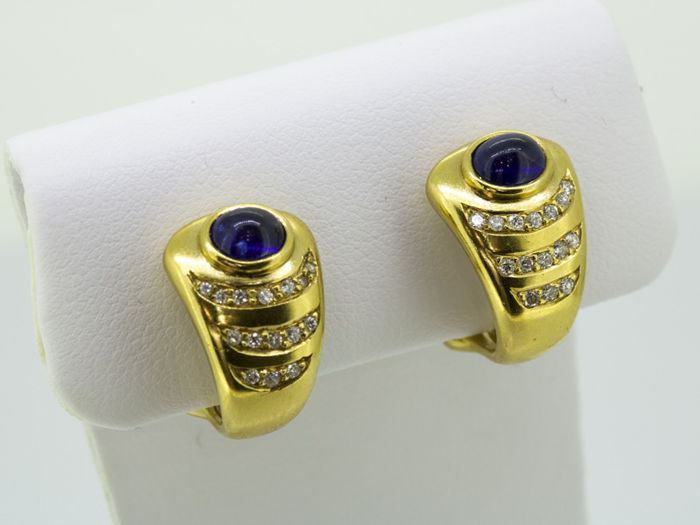 18 kt. Yellow gold - Earrings - 0.60 ct Diamond - Sapphire
