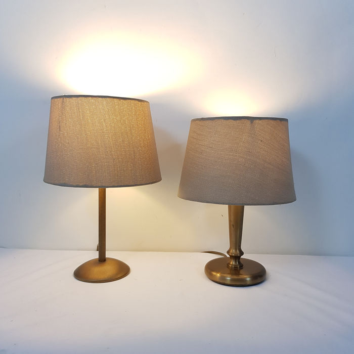 Two table lamps with identical shade - Brass / bronze