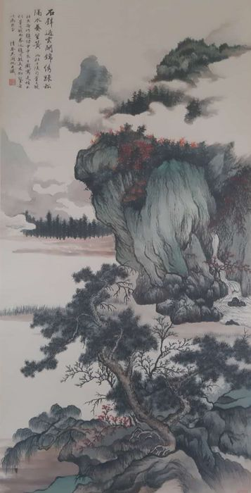 Ink painting - Chinese scroll painting on paper - 《吴湖帆-山水》Made after Wu Hufan - China - Late 20th century