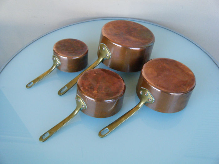 Villedieu - 4 old copper pans - Tinned copper & bronze