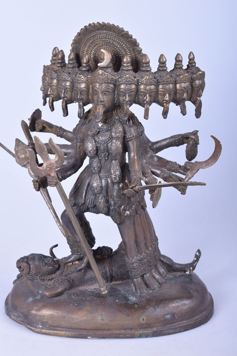 10-headed Kali statue 29 cm - 3.7 kg - Bronze - India - Late 20th century