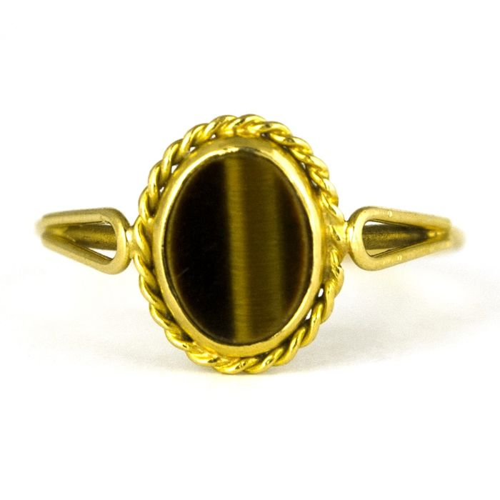 Antique Tiger-Eye  - 18 kt. Yellow gold - Ring